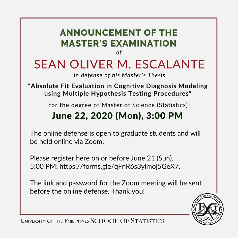 Image for ANNOUNCEMENT OF THE MASTER'S EXAMINATION