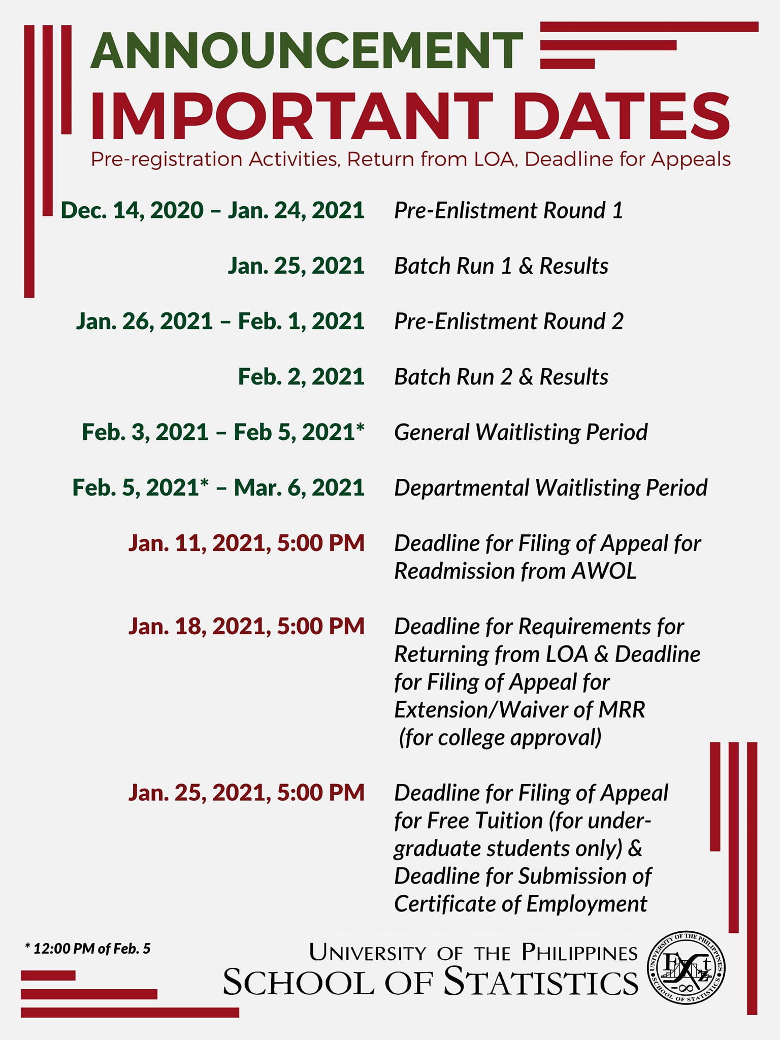 Image for On Changes in Schedules of Important Dates for Registration